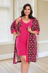 Lady Renkli Büyük Beden Gecelik Ve Pijama Takım 4 Lü Set