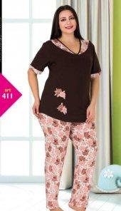 Lady Çiçek Desenli Büyük Beden Pijama Takımı