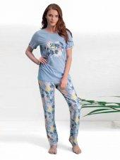Pierre Cardin Bayan Büyük Beden Mavi Kısa Kol Pijama Takımı 7510