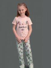 Disney Kız Çocuk Lisanslı Pembe Kısa Kol Pijama Takımı D4101 C