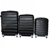 Boyraz Abs Li 3lü 4 Tekerlekli Valiz Seti,seyehat Çantası,bavul