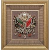 Osmanlı Devlet Arması Svarovski Taşlı Tablo Çerçeve 58x61 Cm