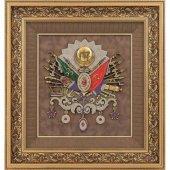Osmanlı Devlet Arması Svarovski Taşlı Tablo Çerçeve 75x80 Cm