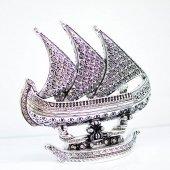 Yelkenli Üçlü Biblo(Esmaül Hüsna İşlemeli Gümüş Renk)