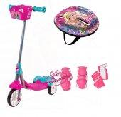 Barbie 3 Tekerlekli Sepetli Frenli Kask Dizlik Full Set Çocuk Scooter Lisanslı Kargo Ücretsiz