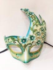 çiçekli Harem Maskesi Mavi Renk
