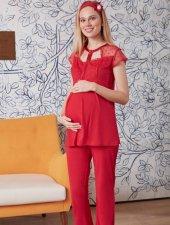 Mecit Puantiye Tüllü Kırmızı Lohusa Hamile Pijama Takım 5021k