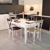 Modilayn Flora Beyaz Masa 4 Tonet Çapraz Sandalye Takımı