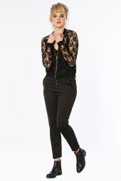 Modena Önden Düğmeli Scuba Kumaş Siyah Pantolon 160022 1