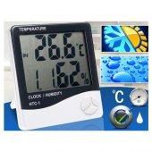 Saatli Masaüstü Dijital Termometre Nem Ölçer Higrometre