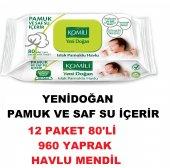 Bebek Yenidoğan Islak Temizle Pamuk Havlu Mendil Komili 12x80 960