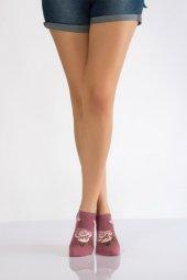 Gül Desen Bayan Patik Çorabı Gül Kurusu B Art023