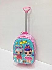 Haeja Lol Pembe Kız Çocuk Çekçekli Sırt Çantası