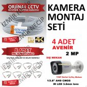 4 Kameralı Montaj Seti Kablo Hazır Bnc Seti Faturalı Mağza Ürünü