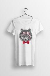 Geek Tiger Baskılı Yırtmaçlı Oversize Kadın Tshirt
