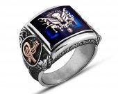 925 Ayar Gümüş Mineli Devlet Armalı Yüzük