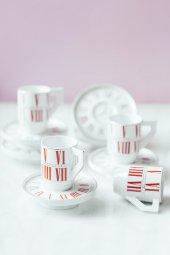Kırmızı 6lı Alice İn Wonderland Kahve Takımı...
