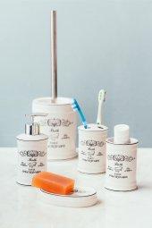 Country Tarzı Beyaz Porselen 5 Li Banyo Seti
