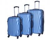 Gnza 4 Tekerlekli Kırılmaz 3lü Valiz Seti Petrol Mavi