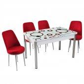 Evform 4 Sandalyeli Halka Desen Açılır Cam Mutfak Masa Takımı