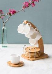 Tek Ayaklı Bambu 6' Lı Kahve Takımı