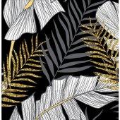 Roll Up Kağıt Peçete Altın Simli Yapraklar Siyah 33x33 Cm