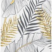 Roll Up Kağıt Peçete Altın Simli Yapraklar Beyaz 33x33 Cm