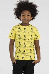 Tommy Life Palmiye Ağaç Baskılı Sarı Çocuk Tshirt
