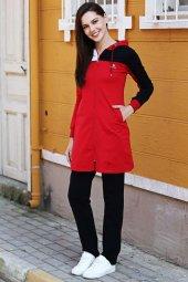 Tommy Life Kapüşonlu Kol Renk Detaylı Kırmızı Tunik Takım