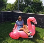 Intex Flamingo Binici Tutmaçlı Ada 142x137x97cm Orta Boy Flamingo Deniz Yatağı