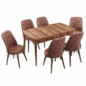 Evform Yakut Kahve 6 Sandalyeli Açılır Mutfak Yemek Masa Takımı