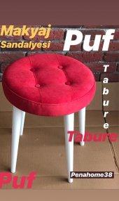 Canisa Concept Puf Rahat Oturum Ahşap Ayaklı Puf Oturak Makyaj Sandalyesi