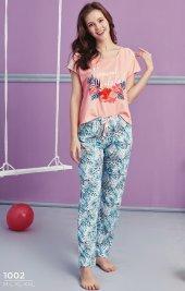 çiçek Desen Detaylı Pijama Takımı Bb 1002