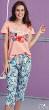 çiçek Desen Detaylı Kapri Pijama Takımı Bb 1004
