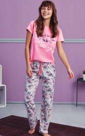 çiçek Desen Detaylı Pembe Pijama Takımı Bb 1006