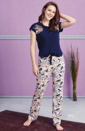 Desen Detaylı Lacivert Pijama Takımı Bb 1012