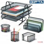 Gıpta 5 Li Metal File Evrak Rafı Masa Kalemlik Küp Notluk Set