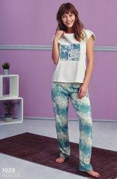 Desen Detaylı Yazılı Pijama Takımı Bb 1029