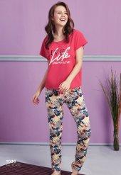 Yaprak Desen Detaylı Pijama Takımı Bb 1036