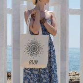 Angemiel Bag Sun Güneş Vectör Çizim Alışveriş Plaj Bez Çanta