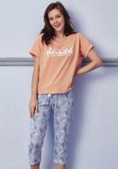 Kuğu Desen Detaylı Kapri Pijama Takımı Bb 1058