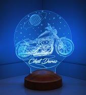 3d Led Lamba 3 Boyutlu Motosiklet Kişiye Özel Hediye Gecelambası