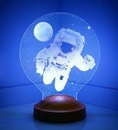 3d Led Lamba 3 Boyutlu Astronot Özel Hediye Gecelambası