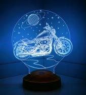 3d Led Lamba 3 Boyutlu Motorsiklet Choper Özel Hediye Gecelambası