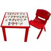 çocuk Masa Sandalye Takımı Kırmızı Alfabe