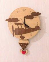 Uçaklı Sallanır Sarkaçlı Duvar Saati
