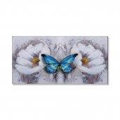 Beyaz Çiçek Mavi Kelebek Kanvas Tablosu 40 Cm X 80 Cm