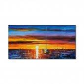 Yağlı Boya Görünümlü Günbatımı Tekne Kanvas Tablosu 50 Cm X 100 Cm