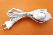 2 Metre Beyaz Renk Dimer Anahtarlı Fişli Abajur Lambader Kablosu