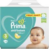 Prima Bebek Bezi Aktif Bebek 3 Beden Midi Fırsat Paketi 78 Adet